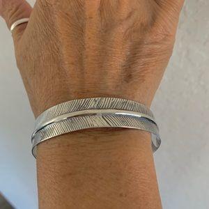 Sterling Silver Angels Feather Bangle Bracelet